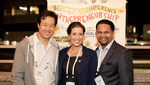 Victor Hwang and Libby Schaaf