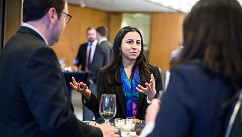 Samee Desai, director of knowledge creation and research at the Kauffman Foundation, networks at the State of Entrepreneurship Address 2018