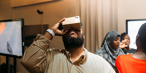 A Kansas City resident uses a virtual reality prototype at Future 20, June 2018. | El Torreon KC + David K. Pugh