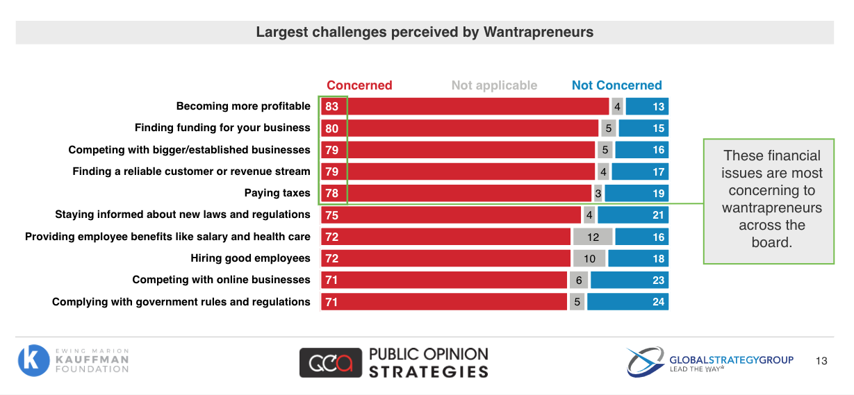 Largest challenges perceived by Wantrapreneurs