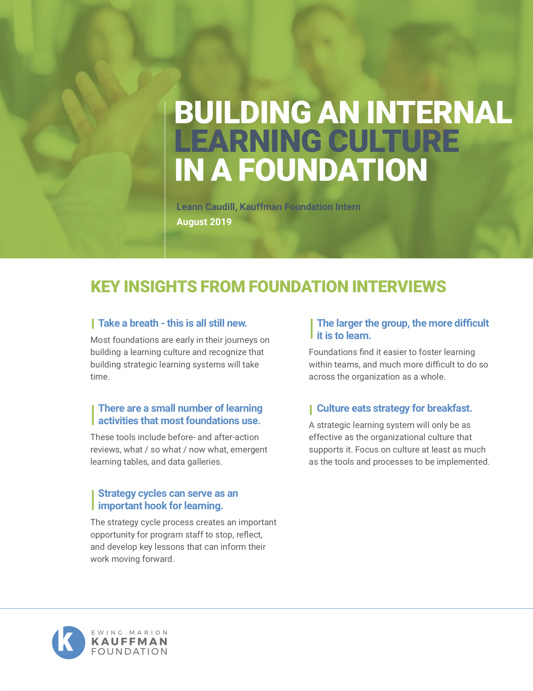 Building an Internal Learning Culture in a Foundation