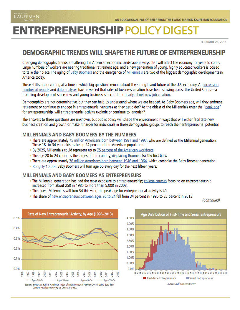 Read the Entrepreneurship Policy Digest.