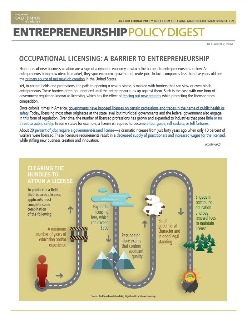 "Read ""Occupational Licensing: A Barrier to Entrepreneurship"" (Updated September 2015)"