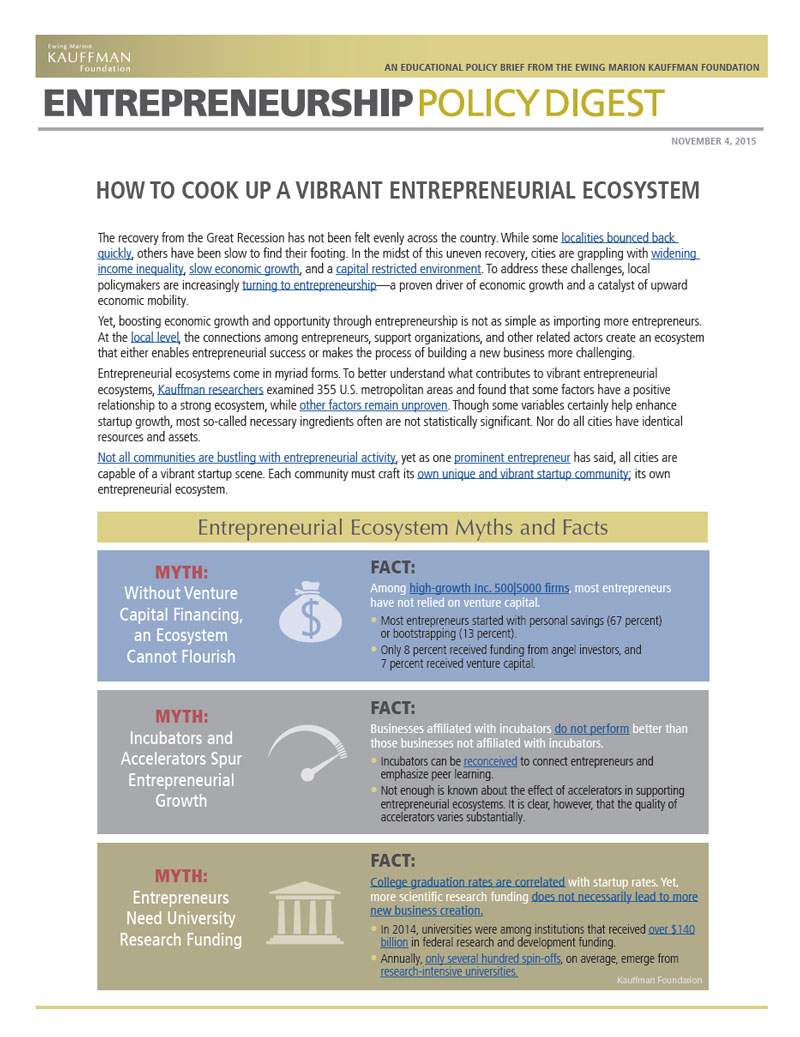 """Read """"How to Cook Up a Vibrant Entrepreneurial Ecosystem"""""""