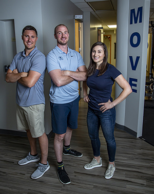 The Facility's Director of Chiropractic Medicine Dr. Cullen Fahey, Director of Functional Medicine and Director of Movement-Based Rehabilitation Dr. Mitchell Rasmussen, and Functional Nutrition Specialist Katelyn Daugherty MS.