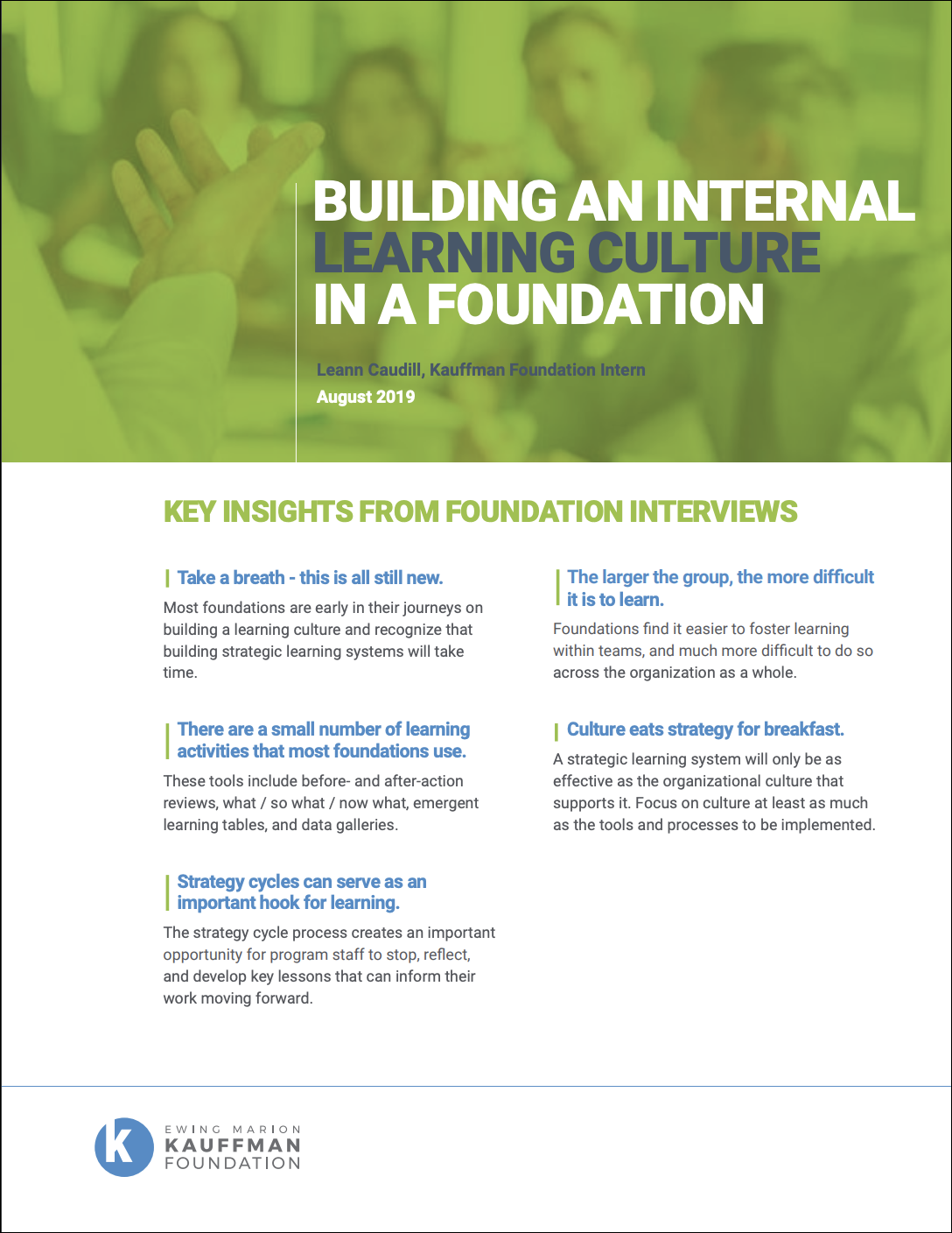 Building an Internal Learning Culture in a Foundation report