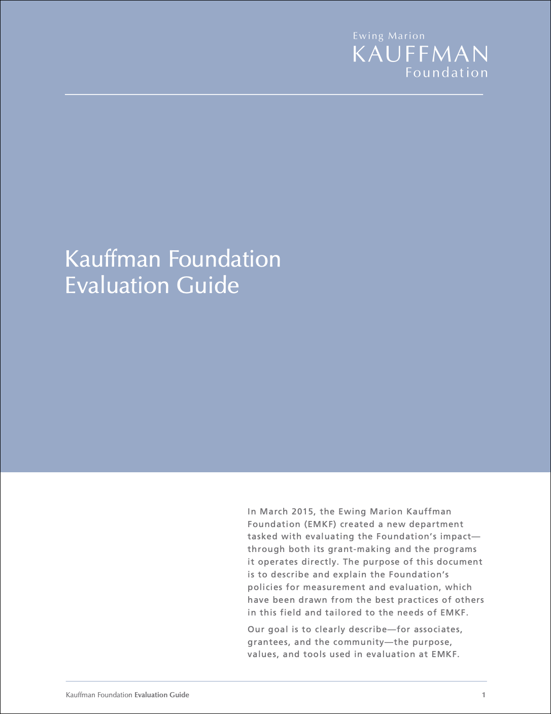 Kauffman Foundation Evaluation Guide
