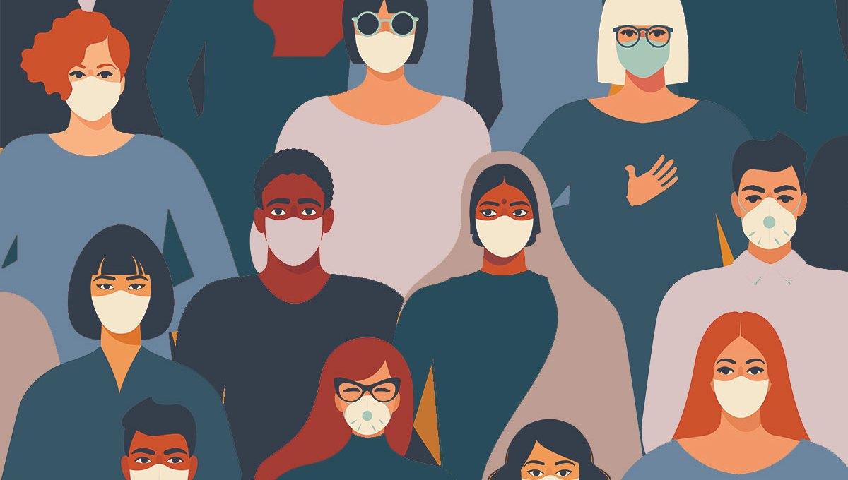 Diverse people wearing face masks