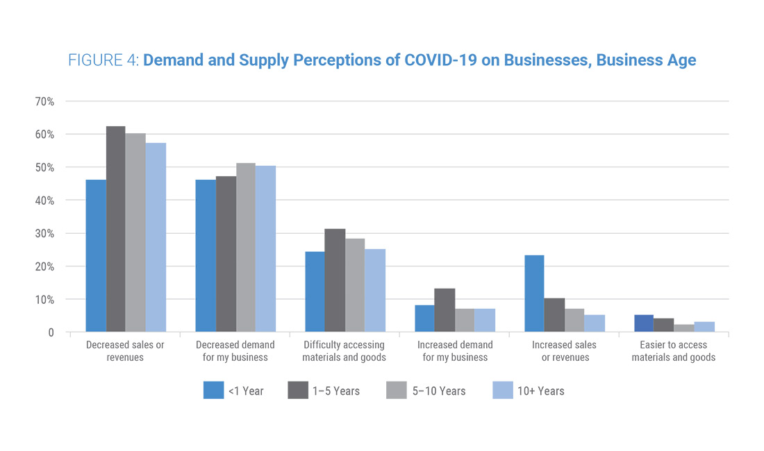 Figure 4: Demand and Supply Perceptions of COVID-19 on Businesses, Business Age