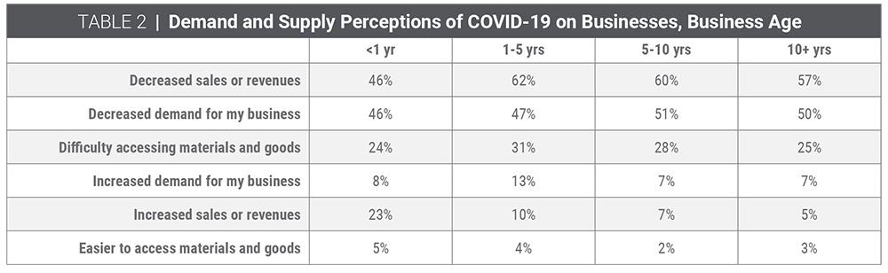 Table 2   Demand and supply perceptions of COVID-19 on businesses, business age