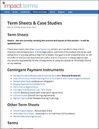 Impact Terms | Term Sheets & Case Studies