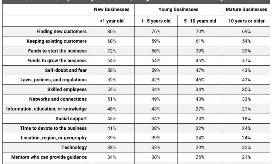Trends in Entrepreneurship - Challenges by Business Age - Table 1