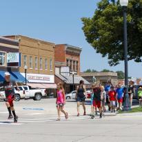 Students walk across the street in rural America