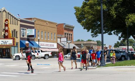Students walk across the street in rural America