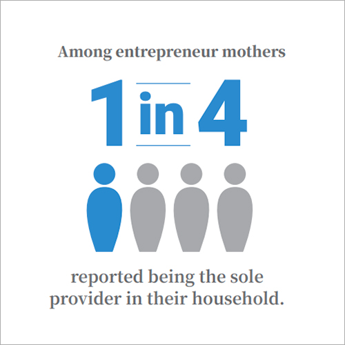 Among entrepreneur mothers, 1 in 4 reported being the sole provider in their household.