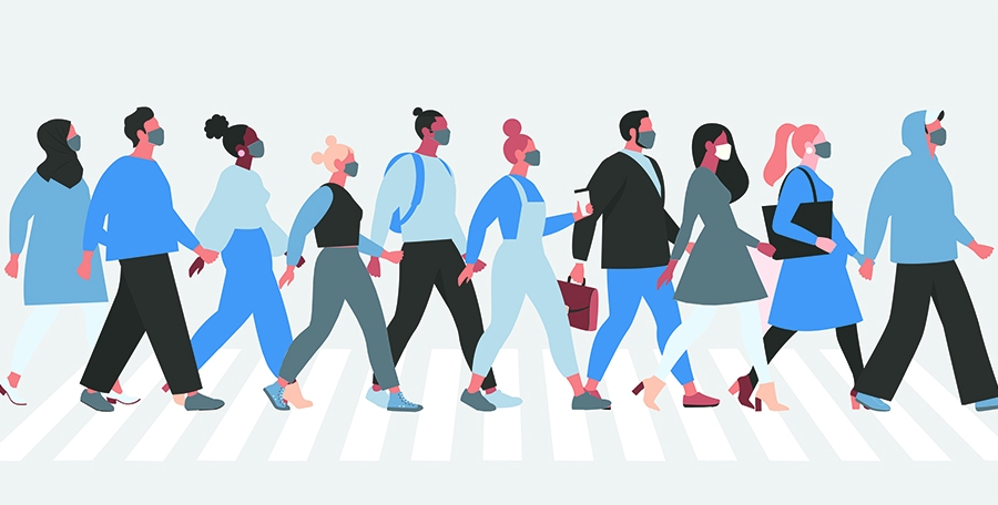 Illustrations of people walking across the street wearing face masks