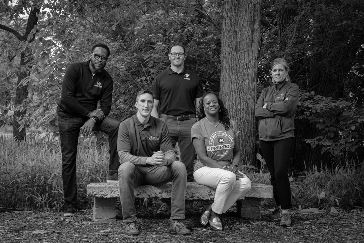 Dred Scott, Steve Scraggs, Erin Balleine, Tonia Gilbert, and Mike English, founders of the Out-of-School-Time Collaborative